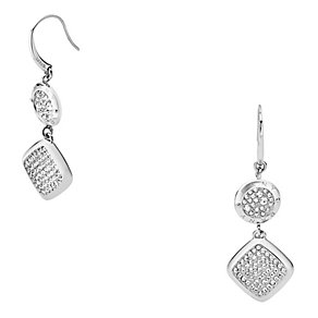 DKNY Silver Tone Crystal Set Drop Earrings - Product number 2306026