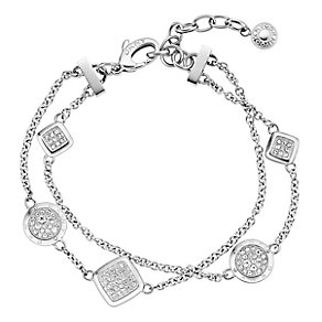 DKNY Silver Tone Double Chain Crystal Set Bracelet - Product number 2306034