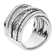 DKNY Silver Tone Crystal Set Stacker Style Ring - Product number 2306107