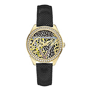 Guess Ladies' Animal Print Crystal Leather Strap Watch - Product number 2306115
