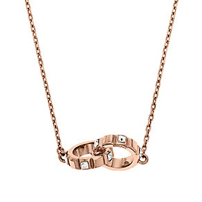 DKNY Rose Gold Tone Crystal Set Interlocking Rings Necklace - Product number 2306271