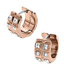DKNY Rose Gold Tone Clear Crystal Huggie Hoop Earrings - Product number 2306298