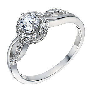 Sterling Silver Cubic Zirconia Solitaire Halo Ring - Product number 2306301