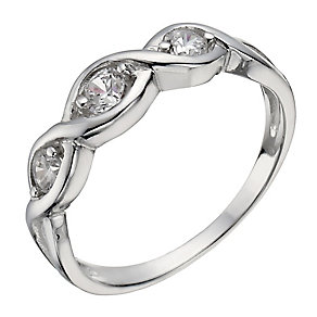 Sterling Silver Three Stone Cubic Zirconia Crossover Ring - Product number 2306379