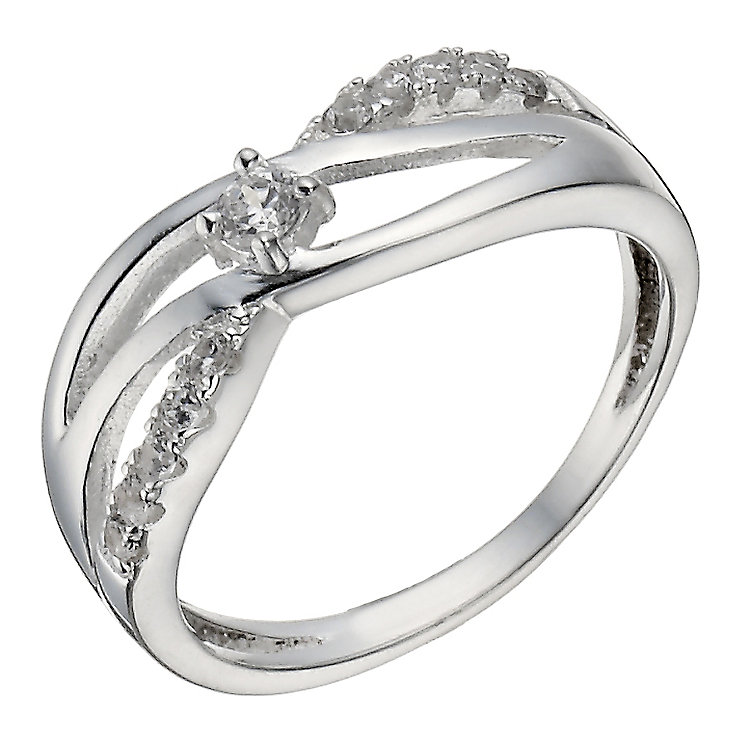 Sterling Silver Cubic Zirconia Crossover Ring - Product number 2306433