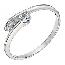 Sterling Silver Cubic Zirconia 2 Stone Ring - Product number 2306646