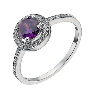 Sterling Silver Purple Cubic Zirconia Halo Ring - Product number 2306778