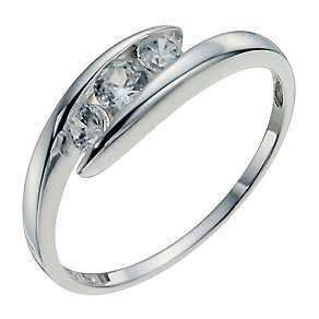 Sterling Silver & Cubic Zirconia Three Stone Ring - Product number 2306832