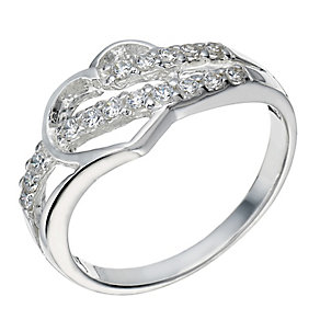Sterling Silver Cubic Zirconia Cut Out Heart Ring - Product number 2307162