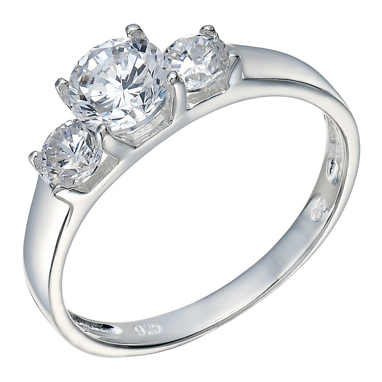 Sterling Silver Cubic Zirconia 3 Stone Ring - Product number 2307227