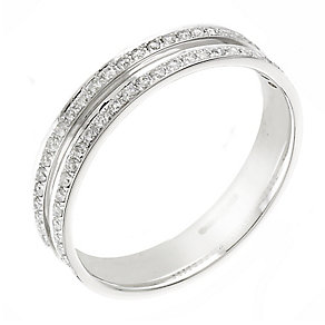 18ct white gold quarter carat diamond wedding ring - Product number 2307553