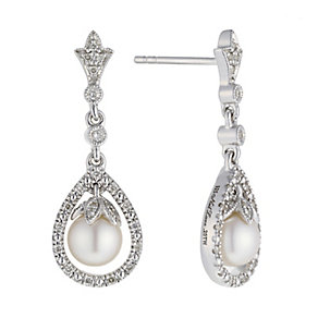 Neil Lane Designs silver pearl & 20pt diamond drop earrings - Product number 2308355