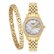 Citizen Ladies' Crystal Watch & Bracelet Set - Product number 2308851