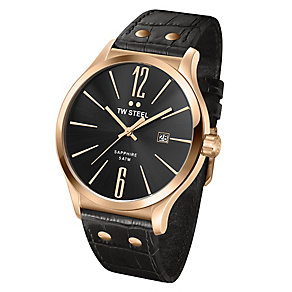 TW Steel men's black leather strap watch - Product number 2309998