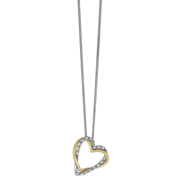 Silver & 9ct yellow gold cubic zirconia link heart pendant - Product number 2314770