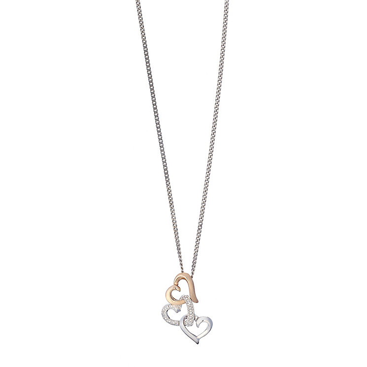 Silver & 9ct rose gold triple heart pendant - Product number 2314800