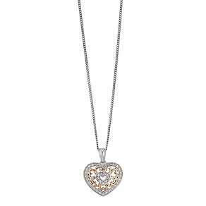 Silver & 9ct rose gold heart pendant - Product number 2314819
