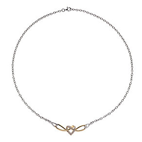 Silver & 9ct yellow gold diamond heart necklet - Product number 2314835