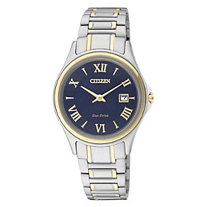 Citizen Eco Drive Ladies' Two Tone Blue Dial Watch - Product number 2316714