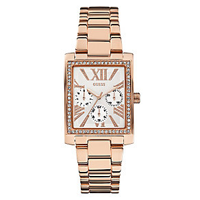 Guess Ladies' Rose Gold Tone Crystal Haven Rectangular Watch - Product number 2316749