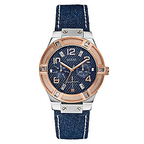 Guess Ladies' Rose Gold Tone Denim Crystal Jet Setter Watch - Product number 2316757