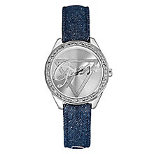 Guess Ladies' Silver Tone Denim Crystal Little Flirt Watch - Product number 2316765