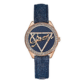 Guess Ladies' Rose Gold Denim Crystal Little Flirt Watch - Product number 2316773