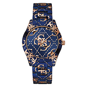Guess Ladies' Rose Gold Tone & Navy Logo Crazed Watch - Product number 2316781