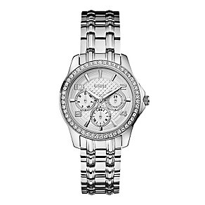 Guess Ladies' Silver Tone Crystal Mini Exec Watch - Product number 2316811