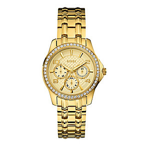 Guess Ladies' Yellow Gold Tone Crystal Mini Exec Watch - Product number 2316846