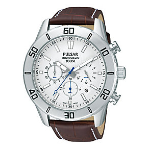 Pulsar Men's Stainless Steel & Leather Chronograph Watch - Product number 2316854