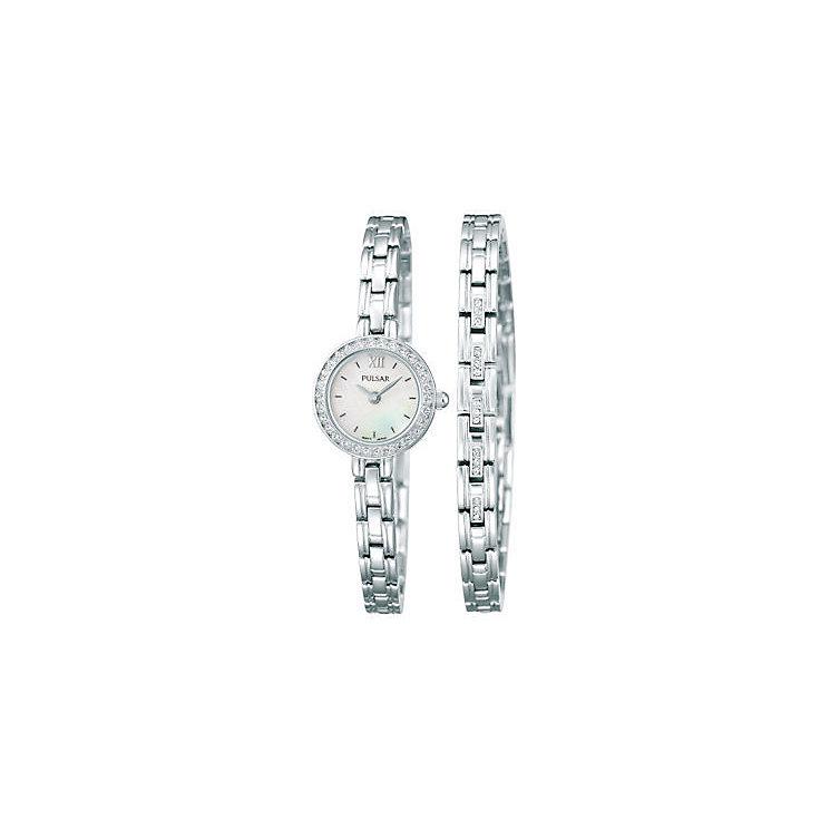 Pulsar Ladies' Crystal Set Dress Watch & Bracelet Set - Product number 2316897
