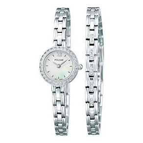 Pulsar Ladies' Crystal Set Dress Watch & Bracelet Set - Product number 2316897