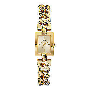 Guess Ladies' Yellow Gold Tone Mini Mod Chain Watch - Product number 2317117