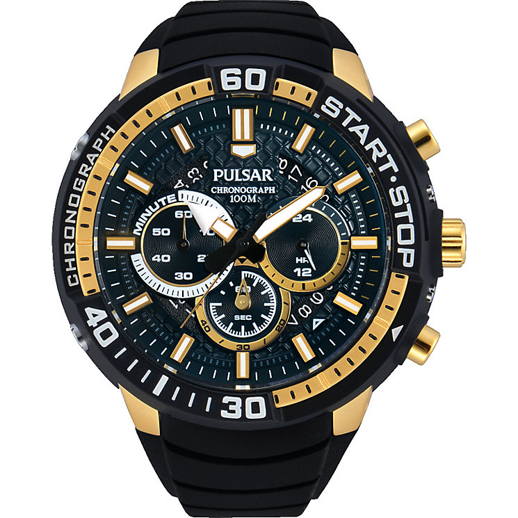 Pulsar Men's Chronograph Gold Tone Black Silicone Watch - Product number 2317168