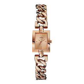 Guess Ladies' Rose Gold Tone Mini Mod Chain Watch - Product number 2317249