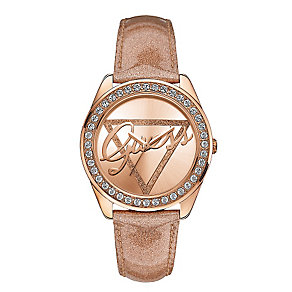 Guess Ladies' Rose Gold Glitz & Crystal Time To Give Watch - Product number 2317338