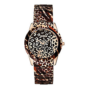 Guess Ladies' Rose Gold Leopard Print Vixen Watch - Product number 2317346