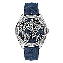Guess Ladies' Silver Tone Crystal & Denim Wonderland Watch - Product number 2317370