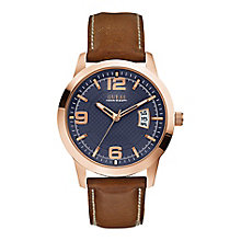 Guess Men's Rose Gold Tone Brown Leather District Watch - Product number 2317435