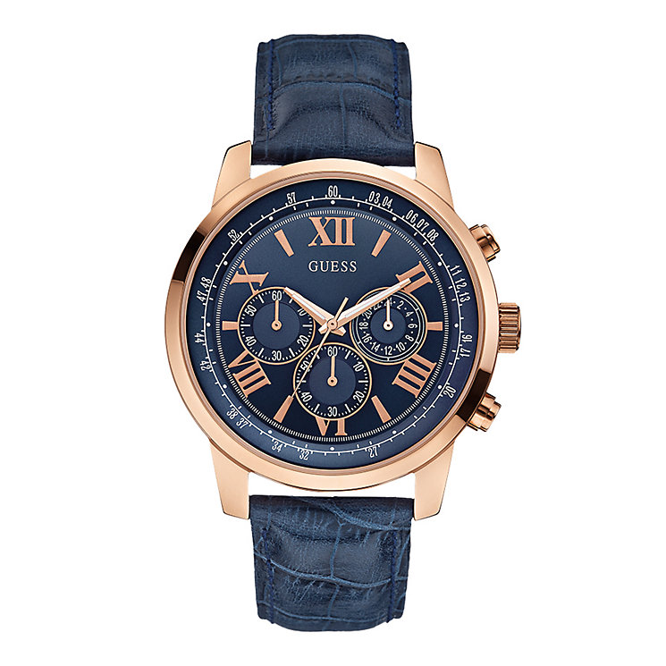 Guess Men's Horizon Rose Gold Tone Blue Leather Strap Watch - Product number 2317443