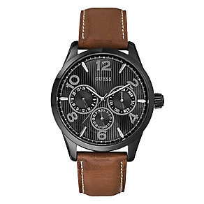 Guess Men's Black Dial Brown Leather Strap Passage Watch - Product number 2317486