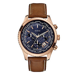 Guess Men's Rose Gold Tone Brown Leather Strap Pursuit Watch - Product number 2317494