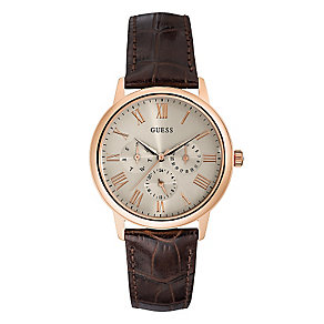 Guess Men's Rose Gold Tone Brown Leather Wafer Watch - Product number 2317516