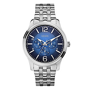 Guess Men's Stainless Steel Blue Dial Captain Watch - Product number 2317524