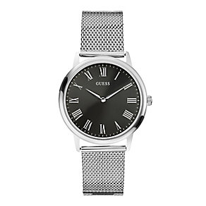 Guess Men's Black Dial & Silver Tone Mesh Strap Watch - Product number 2317532