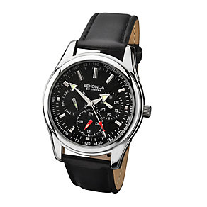 Sekonda Men's Chrome Case Black Strap Watch - Product number 2317559