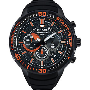 Pulsar Men's Chronograph Orange & Black Silicone Watch - Product number 2317567