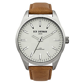 Ben Sherman Men's Big Carnaby Check Brown Leather Watch - Product number 2317907