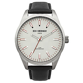 Ben Sherman Men's Big Carnaby Check Black Leather Watch - Product number 2317915